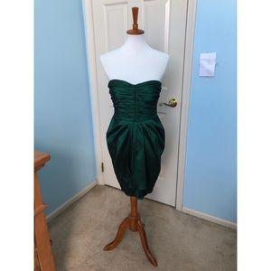 Short Emerald Green Dress, Elegant Strapless Look
